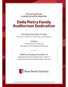 Della Pietra Family Auditorium Dedication Evite