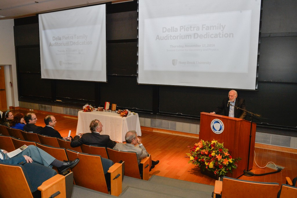 Jim Simons addresses the audience at the Della Pietra Family Auditorium Dedication