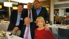 Soucheng Zhang, George Sterman, Peter van Nieuwenhuizen, Jim and Marilyn Simons. Image courtesy Barbara Zhang.