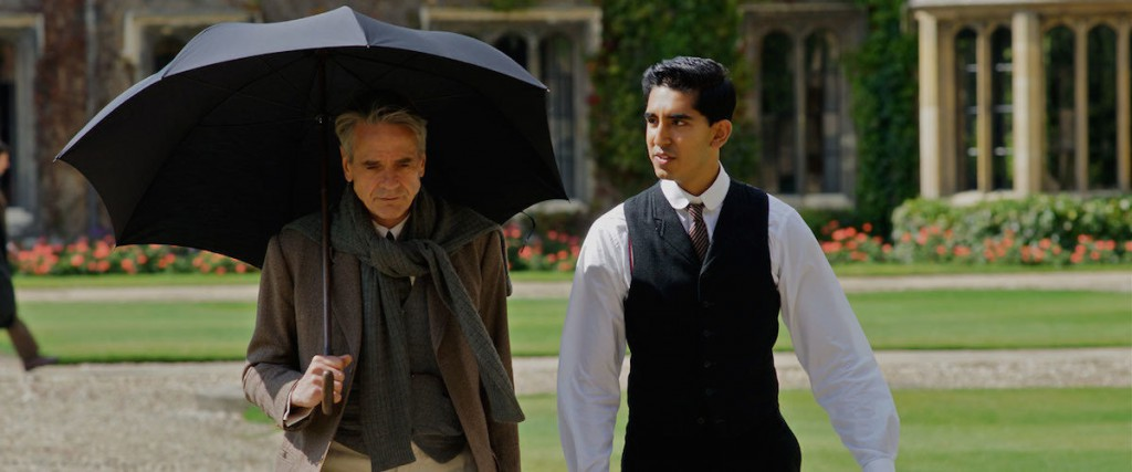 Jeremy Irons as G.H. Hardy, Dev Patel as S. Ramanujan. IFC FILMS