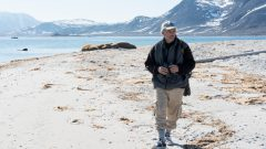 Conservationist and writer Carl Safina visiting a walrus colony on Amsterdamøya, Albert I Land, northwest coast of Svalbard. Dr. Safina was invited to sail with Greenpeace to bear witness to the changing climate in the Arctic and the impacts of industrial fishing on the marine environment.