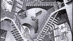 Relativity, 1953. Wood engraving, 10 7/8 x 11 ½ inches Collection of ROCK J. WALKER / WALKER FINE ART , LTD. All M.C. Escher's Works and Text © The M.C. Escher Company, Baarn, The Netherlands. All Rights Reserved. M.C. Escher ® is a Registered Trademark